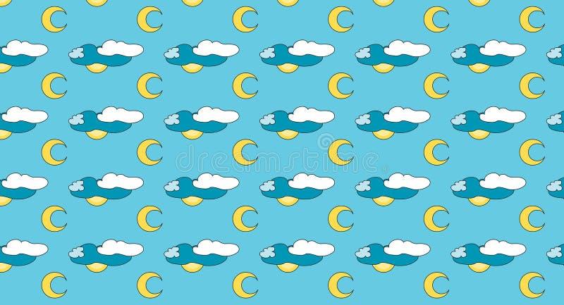 Vectorachtergrond met maan en wolken royalty-vrije stock afbeeldingen
