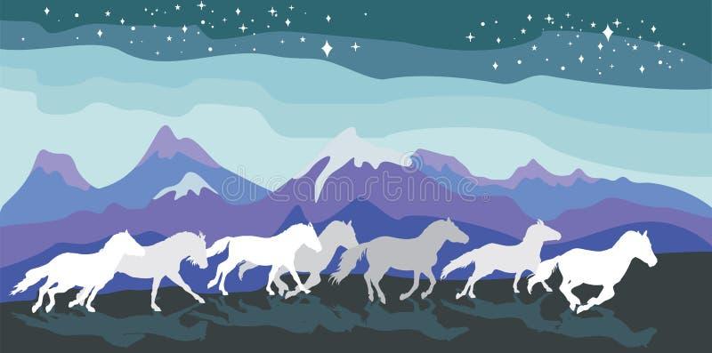 Vectorachtergrond met paarden stock illustratie