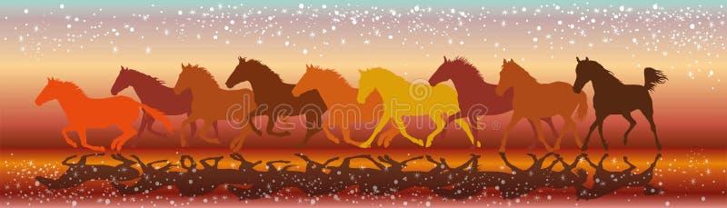 Vectorachtergrond met paarden die in de zonsondergang galopperen royalty-vrije illustratie