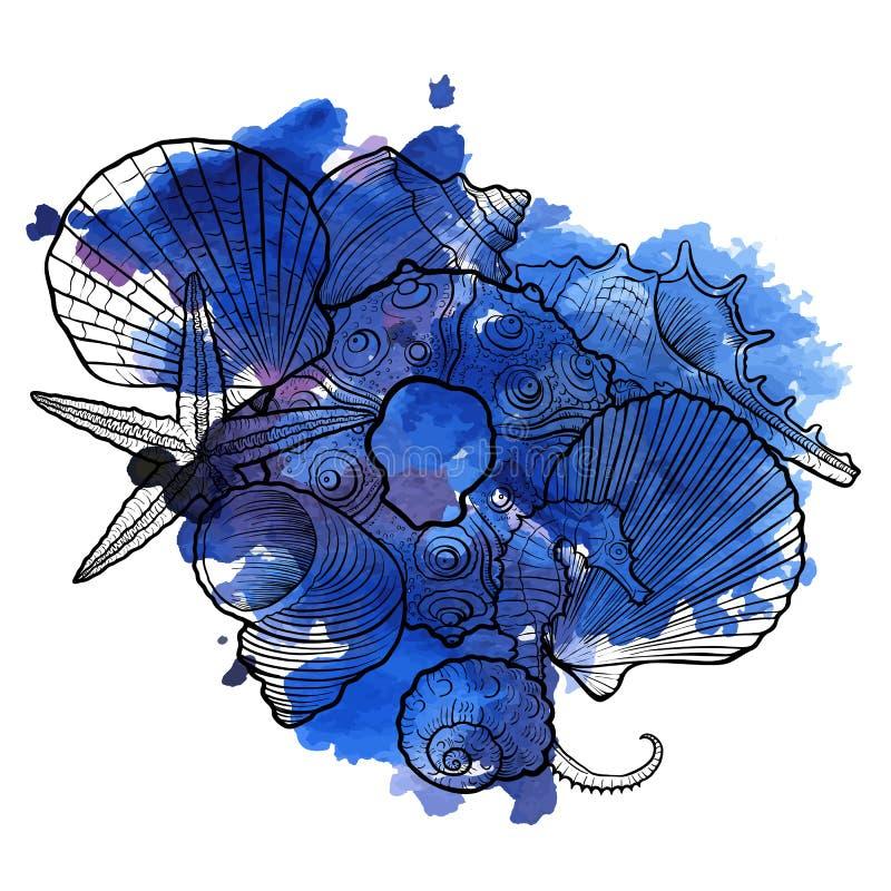 Vectorachtergrond met zeeschelpen stock illustratie