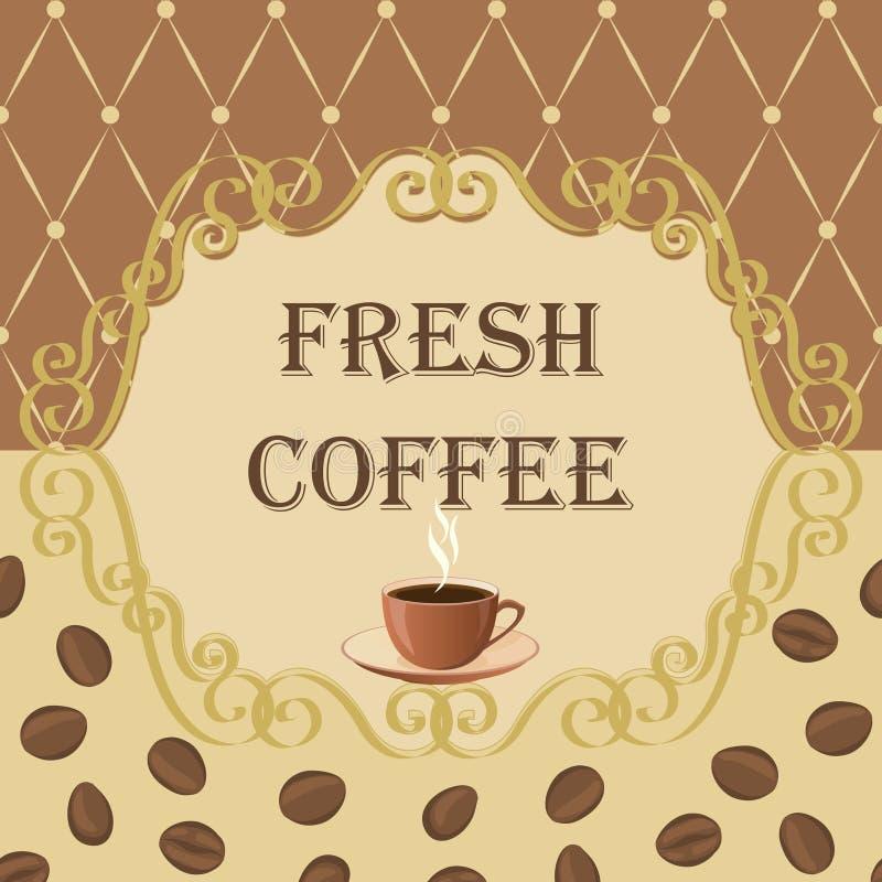Vectorachtergrond op een koffiethema in uitstekende stijl royalty-vrije stock foto