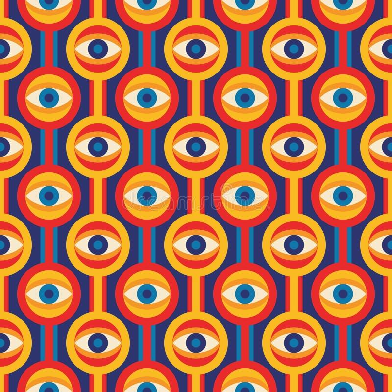Vectorachtergrond van de midden van de eeuw de moderne kunst met oogsymbool Abstract geometrisch naadloos patroon Decoratief orna stock illustratie