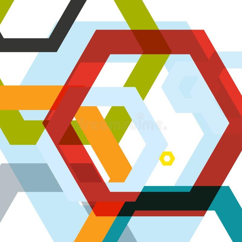 Vectorachtergrond van grote gekleurde zeshoeken eps royalty-vrije illustratie