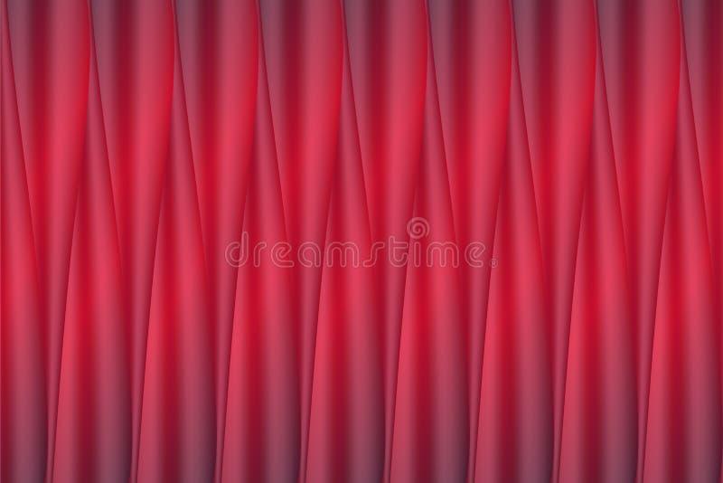 Vectorachtergrond van realistische heldere rode het glanzen de stoffenvouwen van de satinetzijde vector illustratie