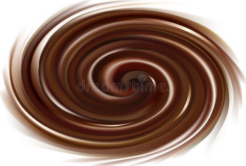 Vectorachtergrond van wervelende chocoladetextuur royalty-vrije illustratie
