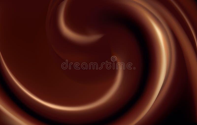 Vectorachtergrond van wervelende donkere chocoladetextuur vector illustratie