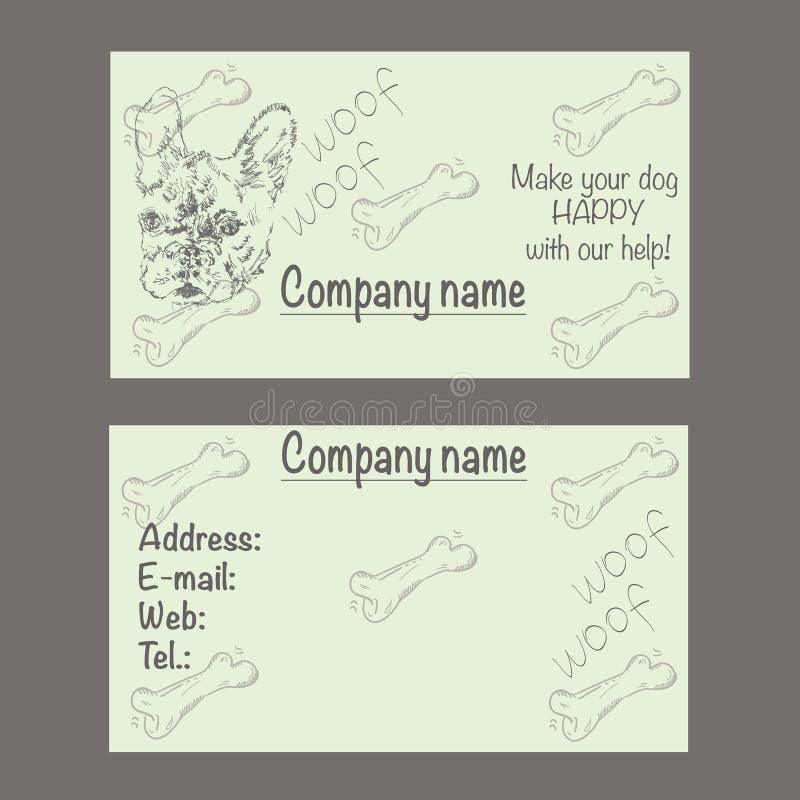Vectoradreskaartje voor veterinaire kliniek of dierenwinkel vector illustratie
