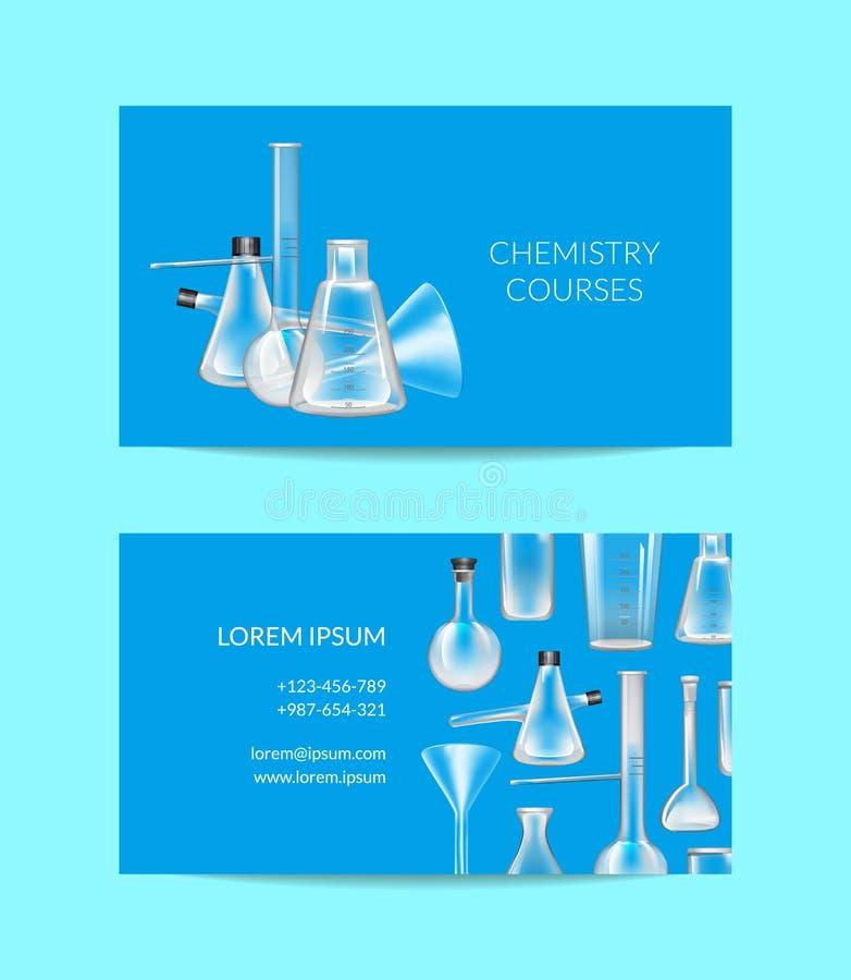 Vectoradreskaartjemalplaatje voor chemie of chemisch laboratorium met glazen buizen vector illustratie