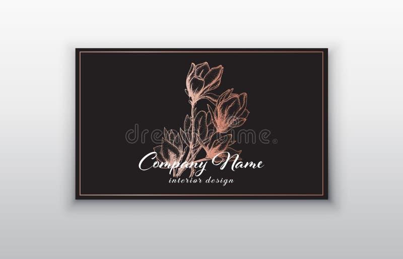 Vectoradreskaartjemalplaatjes met roze gouden bloemen stock illustratie