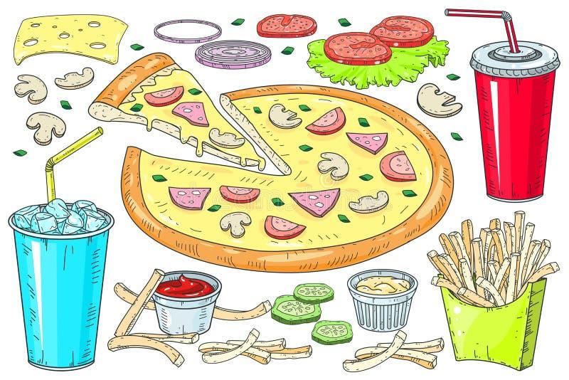 Vectorafbeelding van creatieve pizza's Een stuk pizza voor het ontwerpen van reclame voor je restaurant en café stock foto's