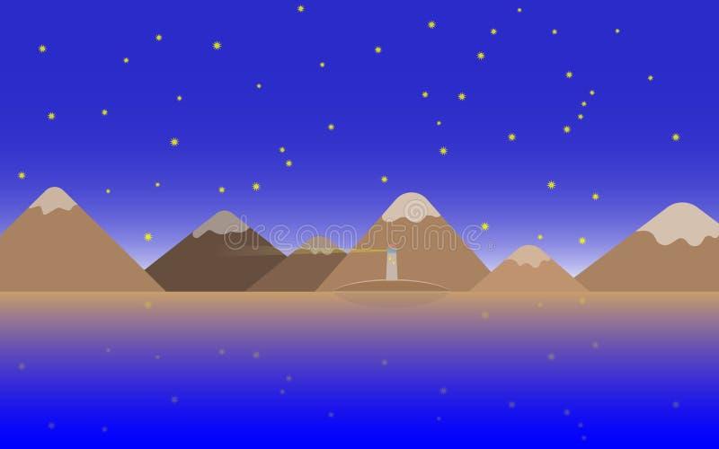 Vectorafbeelding van een zeelandschap in de avond met een lichtgevende vuurtoren op het eiland en bergen met sneeuwkapjes op een stock illustratie