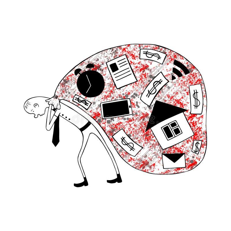 Vectorafbeeldingenhand getrokken Sarcastische, ironische, grappige illustratie van de vermoeide bedrijfsmens, symbool van moeheid royalty-vrije illustratie