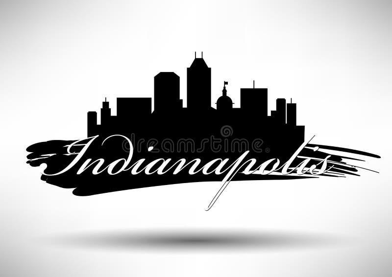 Vectorafbeeldingenontwerp van de Stadshorizon van Indianapolis royalty-vrije illustratie