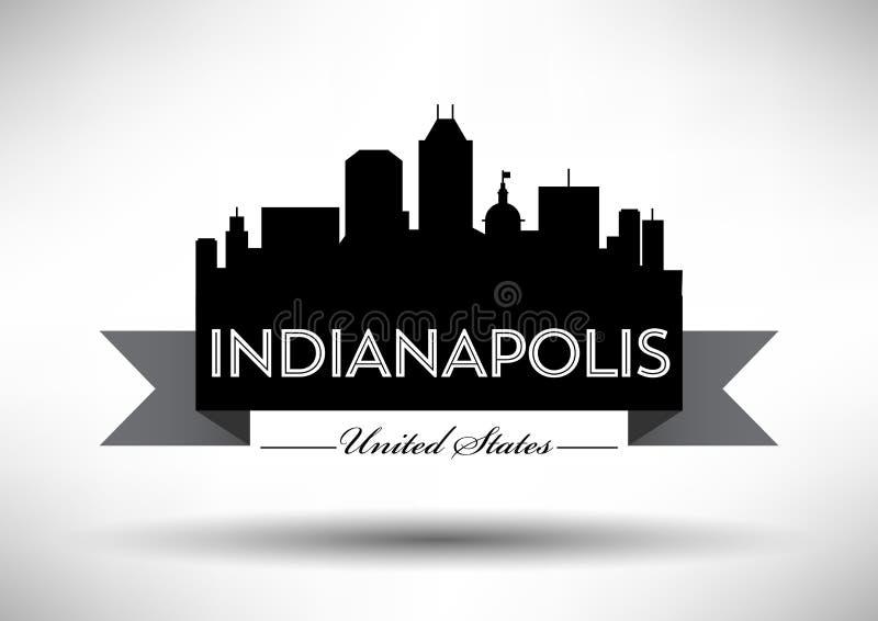 Vectorafbeeldingenontwerp van de Stadshorizon van Indianapolis stock illustratie