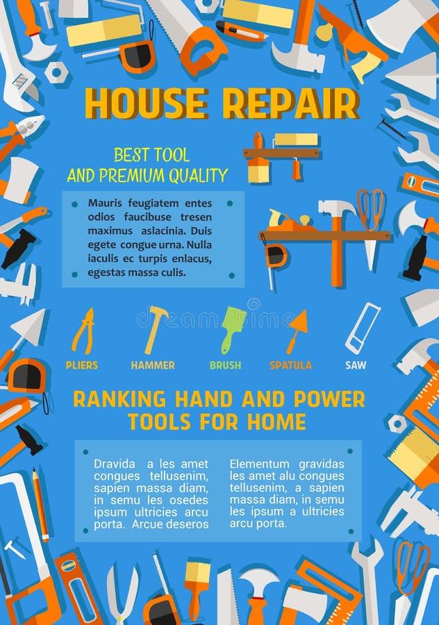 Vectoraffiche van de hulpmiddelen van het het manusje van alleswerk van de huisreparatie royalty-vrije illustratie