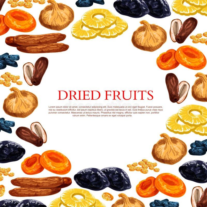 Vectoraffiche van droge vruchten en droge fruitsnacks royalty-vrije illustratie