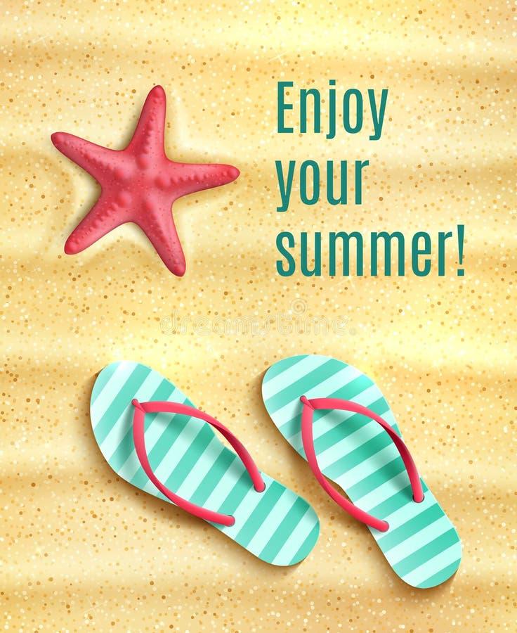 Vectoraffiche voor de vakantiesvakantie van het de zomerstrand vector illustratie