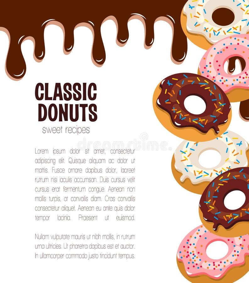 Vectoraffiche voor doughnutcakes en desserts stock illustratie