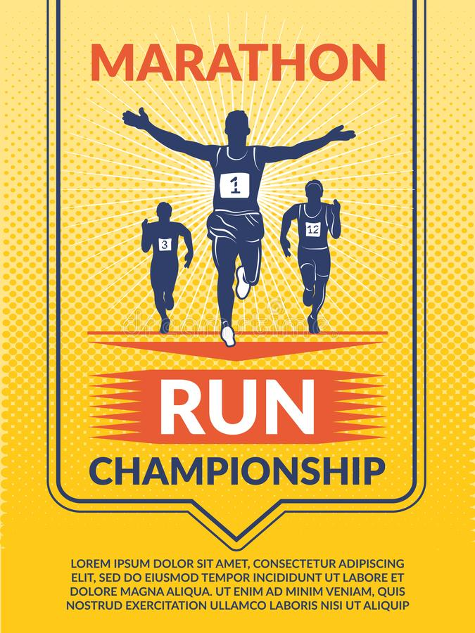 Vectoraffiche voor sportclub De agenten van de marathon stock illustratie