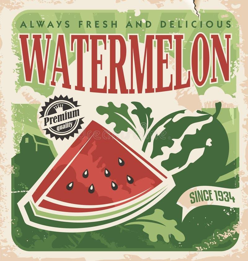 Vectoraffichemalplaatje voor watermeloenlandbouwbedrijf stock illustratie
