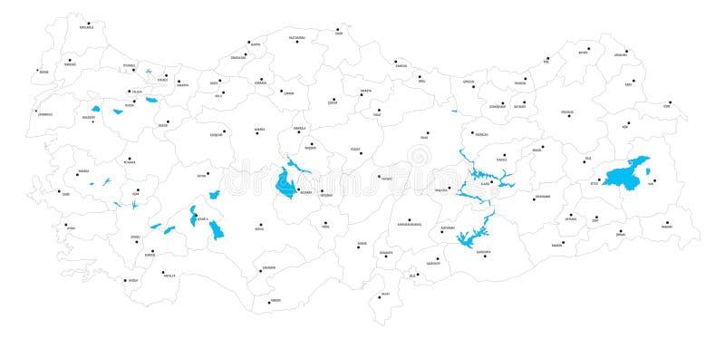 Vectoral土耳其政治地图和湖 图库摄影