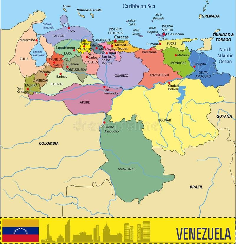 Vectorale politieke kaart van Venezuela royalty-vrije illustratie
