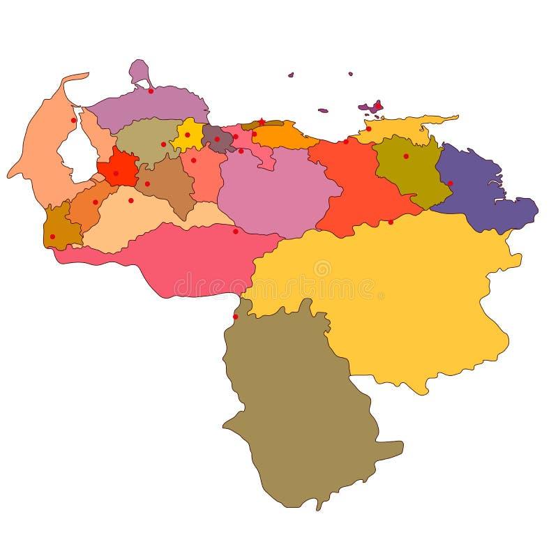Vectorale politieke kaart van Venezuela stock illustratie