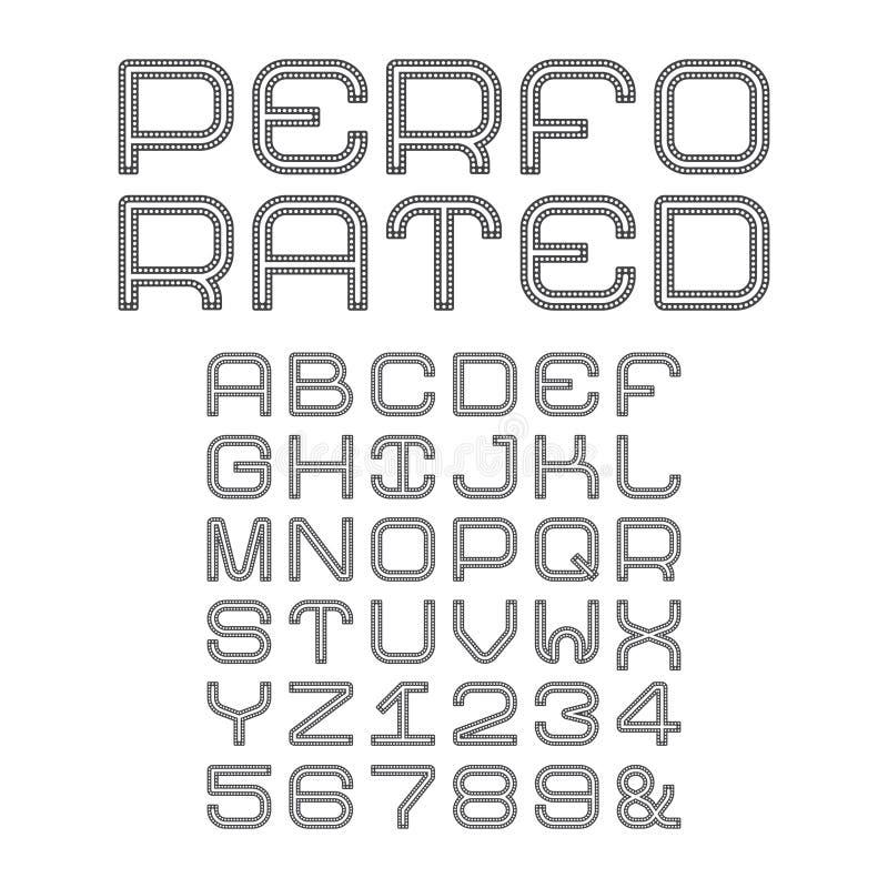 Vectoralfabet met geperforeerde hoofdletters in vlakke stijl stock illustratie