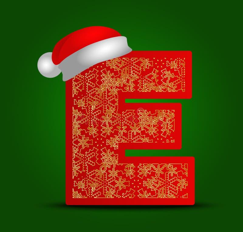 Vectoralfabetbrief E met Kerstmishoed en gouden sneeuwvlokken royalty-vrije stock foto