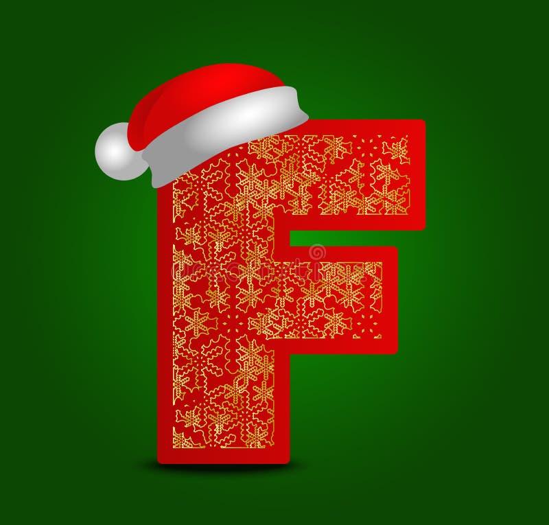 Vectoralfabetbrief F met Kerstmishoed en gouden sneeuwvlokken stock foto