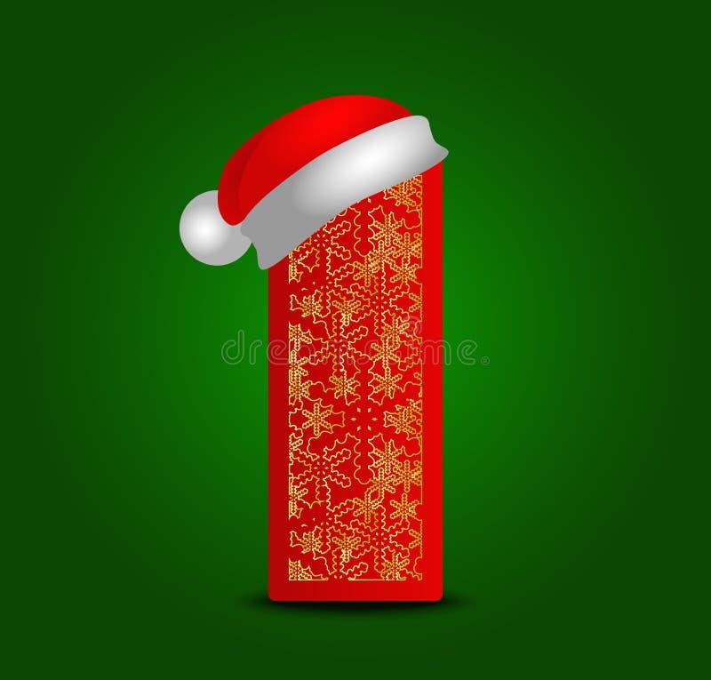 Vectoralfabetbrief I met Kerstmishoed en gouden sneeuwvlokken stock afbeelding