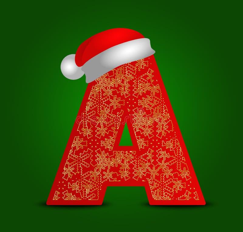 Vectoralfabetbrief A met Kerstmishoed en gouden sneeuwvlokken royalty-vrije stock afbeelding