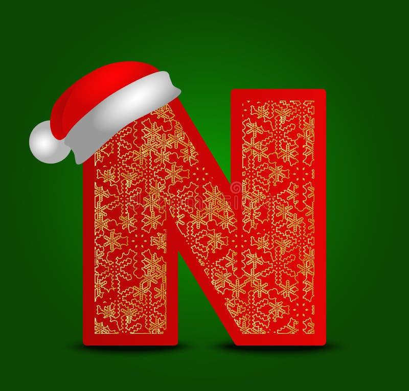 Vectoralfabetbrief N met Kerstmishoed en gouden sneeuwvlokken stock foto's