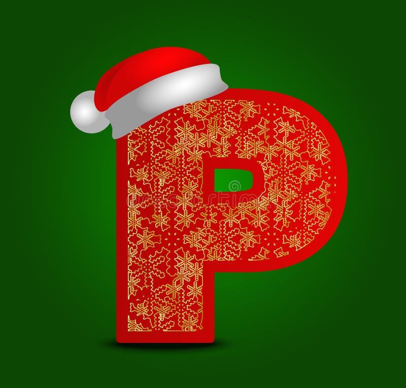 Vectoralfabetbrief P met Kerstmishoed en gouden sneeuwvlokken vector illustratie