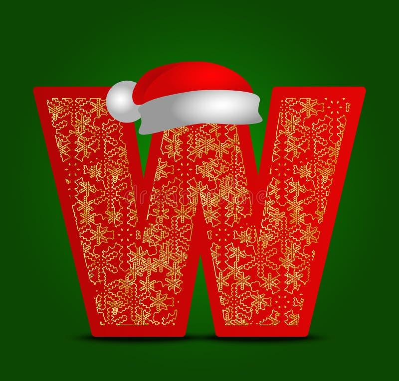 Vectoralfabetbrief W met Kerstmishoed en gouden sneeuwvlokken stock fotografie