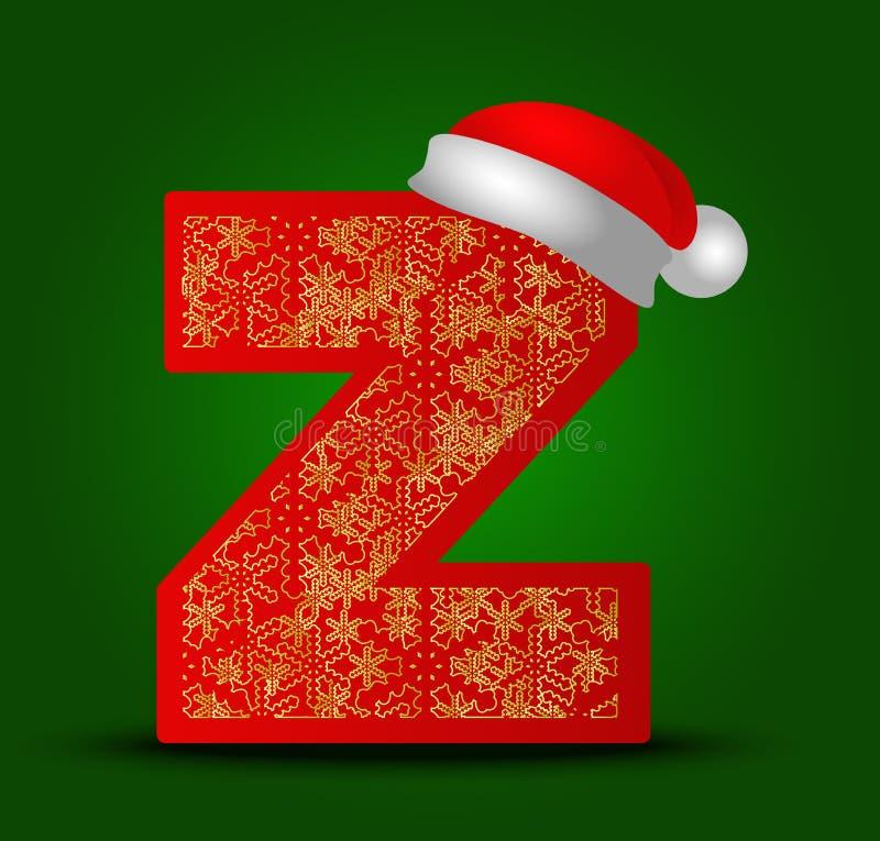 Vectoralfabetbrief Z met Kerstmishoed en gouden sneeuwvlokken royalty-vrije stock afbeelding