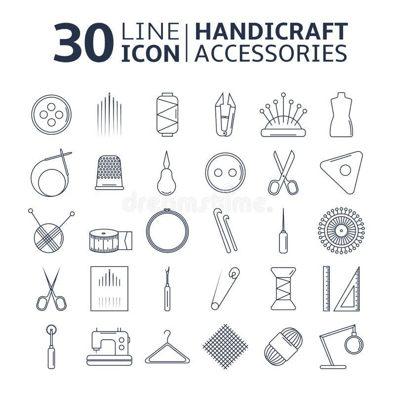 Vectorambachtstoebehoren De reeks van de lijnkunst toebehoren voor het naaien en met de hand gemaakt stock illustratie
