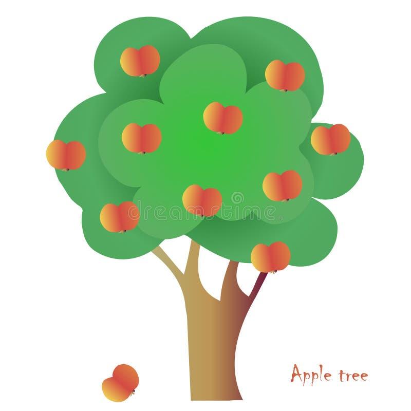 Vectorappelboom voor embleem, voor pictogram, voor getrokken decoratiehand stock illustratie