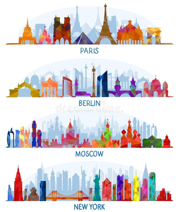 Vectorarchitectuur Parijs, Berlijn, Moskou en New York royalty-vrije illustratie