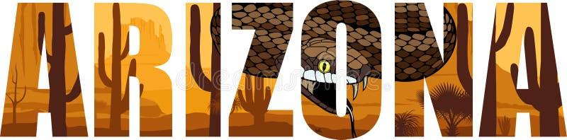 Vectorarizona - het Amerikaanse woord van de staat met ratelslang in woestijn vector illustratie
