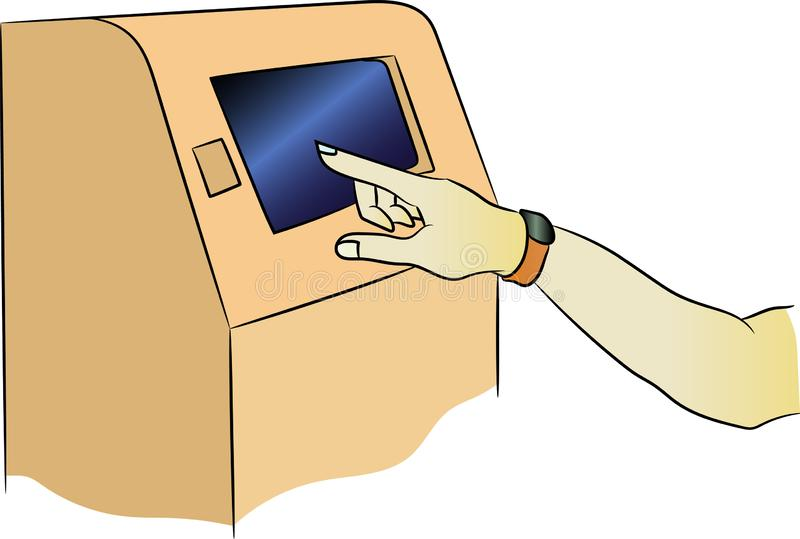 Vectoratm-machine met gehechtheid Terminal voor betaling De hand met een geschiktheidsarmband is inbegrepen in de rekening vector illustratie