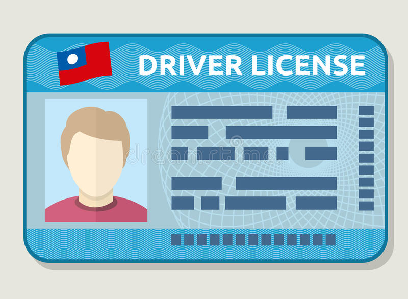 Vectorauto rijbewijs, identificatiekaart met foto, werknemersidentiteitskaart royalty-vrije illustratie