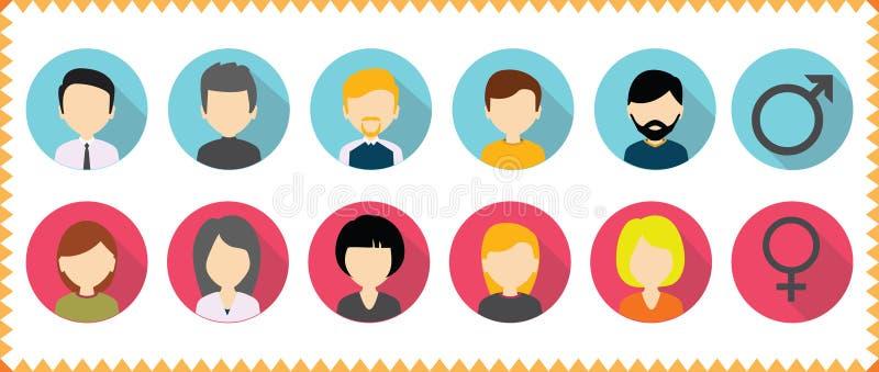 Vectoravatar geplaatst profielpictogram - reeks pictogrammen van mensengezichten royalty-vrije illustratie