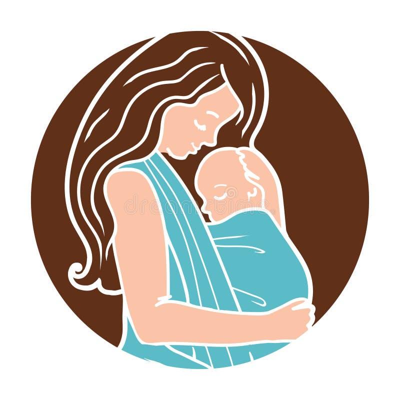 Vectorbabywearing om Logo With Mother Hugging Baby in een Slinger Eenvoudige lineartstijl stock illustratie