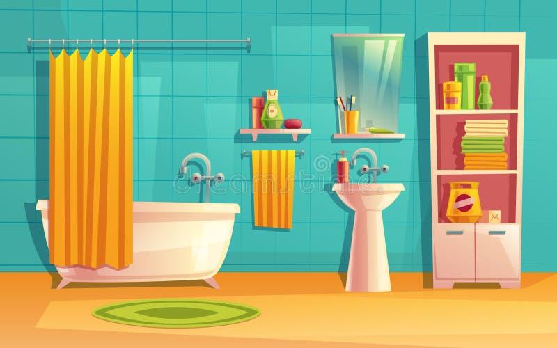 Vectorbadkamersbinnenland, ruimte met meubilair, badkuip royalty-vrije illustratie