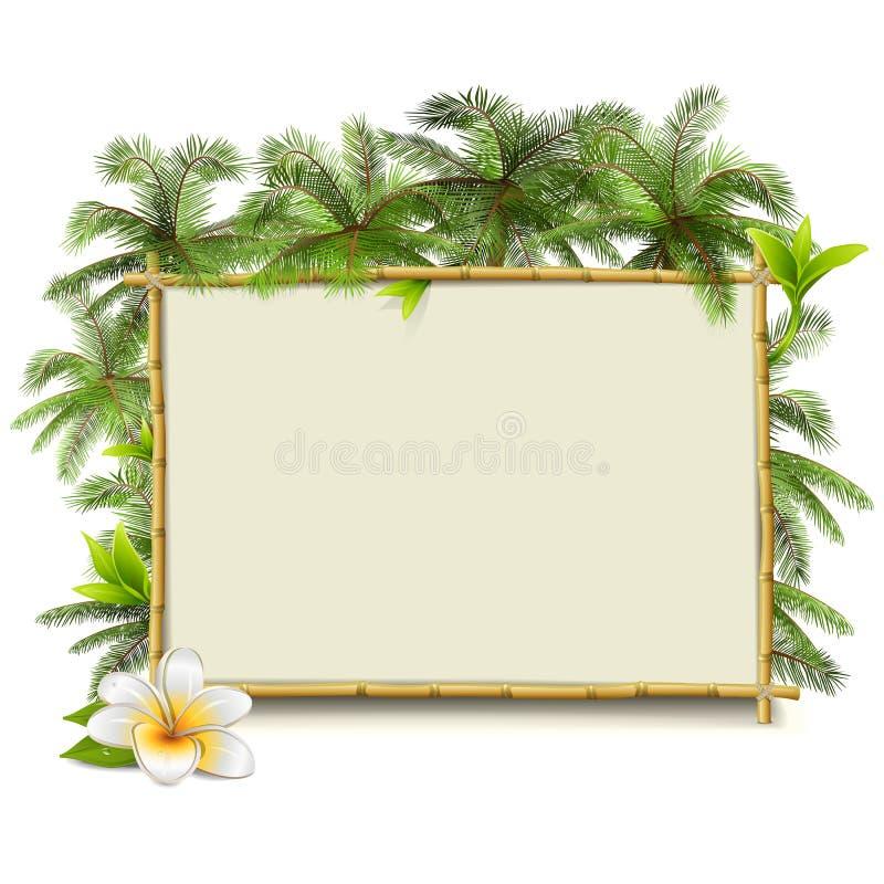 Vectorbamboekader met Palm royalty-vrije illustratie