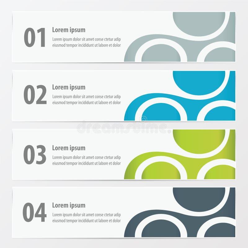 Vectorbanner Groene, blauwe, grijze kleur vector illustratie