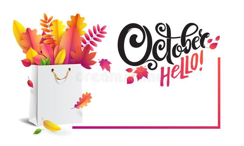 Vectorbanner met de herfstspeciale aanbieding, reclame Oktober Hello Het winkelen zak met boeket van gevallen de herfstbladeren vector illustratie