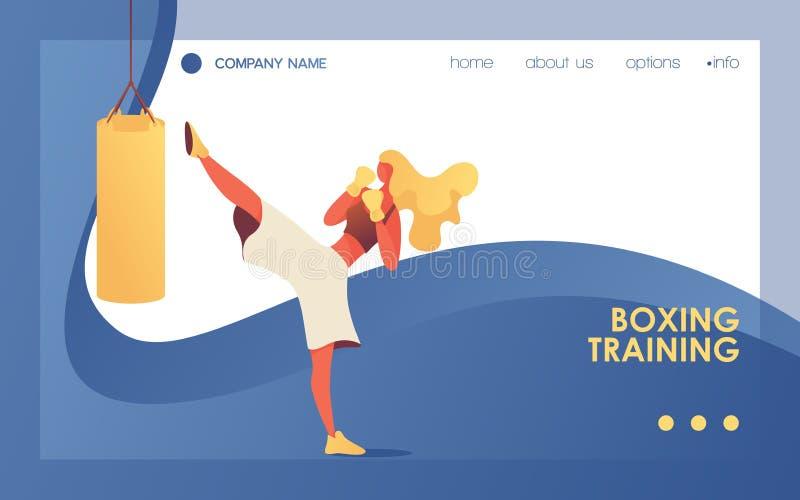 Vectorbanner met de jonge zak van het de schopponsen van het sportmeisje Blauw landingspaginamalplaatje voor gymnastiek of in doz stock illustratie