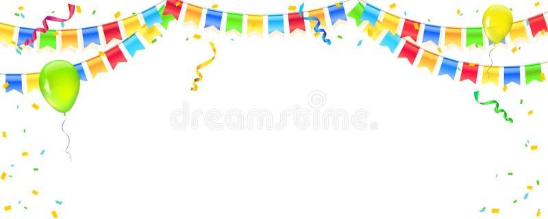 Vectorbanner met wimpels, confettien en slingers van multi gekleurde hangende vlaggen Witte achtergrond voor verjaardag stock illustratie